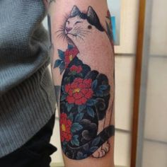 Original Horitomo Cat Tattoo On Arm