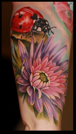 Original Ladybug On Flower Tattoo On Arm