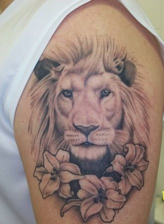 Original Lion Head And Flower Tattoos On Arm