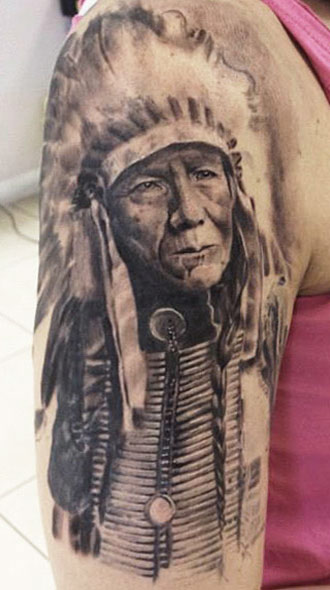 Original Native American Tattoo On Half Sleeve