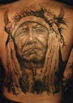 Original Native American Tattoo On The Back