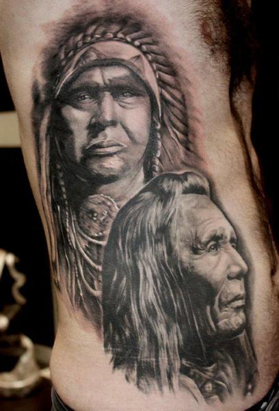 Original Native American Tattoos On Side