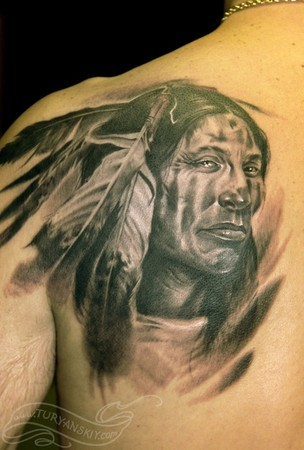 Original Native American Warrior Tattoo Behind Shoulder