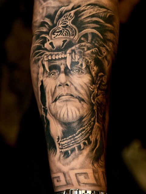 Original Native American Warrior Tattoo On Lower Arm
