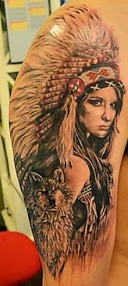 Original Native American Woman And Wolf Tattoos