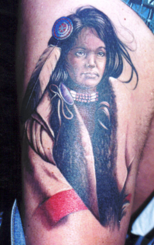 Original Native American Woman Tattoo On Thigh