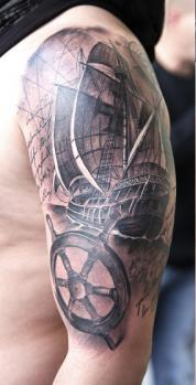 Original Nautical Tattoos On Half Sleeve