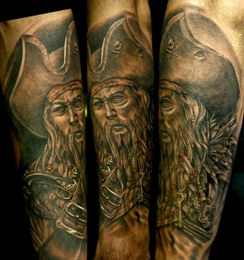 Original Old Pirate Tattoo On Arm