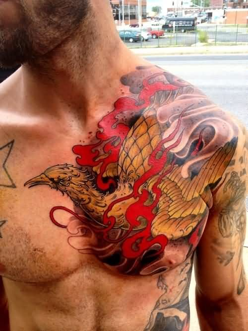 Original Phoenix And Red Flames Tattoos On Chest