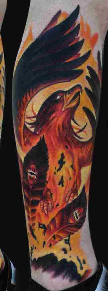 Original Phoenix Rising Tattoo On Leg