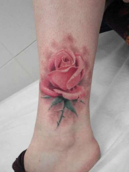 Original Pink Rose Tattoo Above Ankle