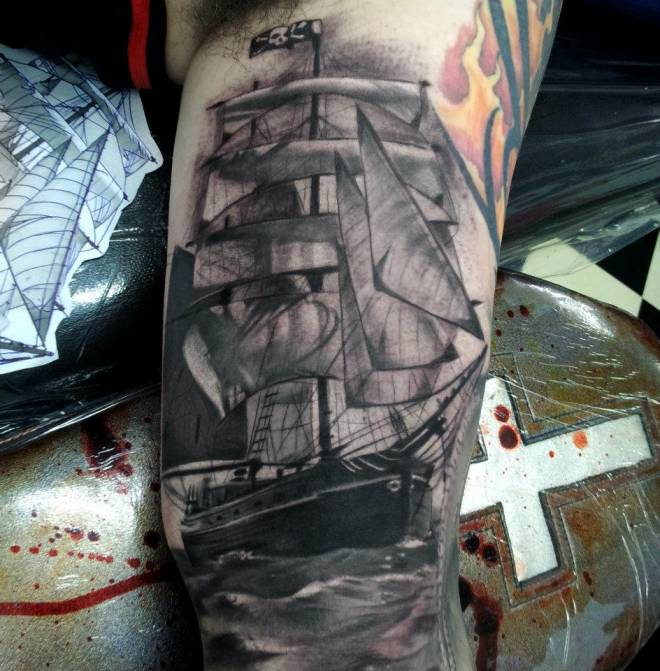 Original Pirate Ship In Water Tattoo