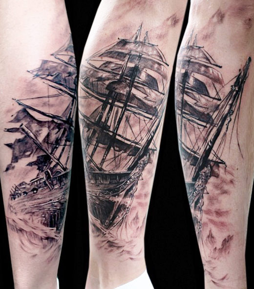 Original Pirate Ship Leg Tattoos