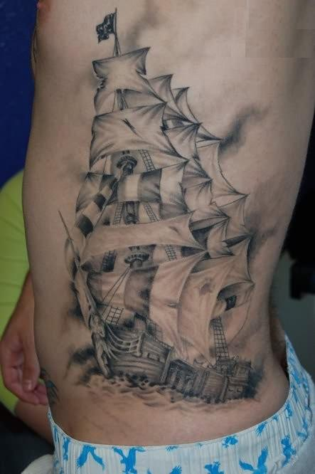 Original Pirate Ship Tattoo On Side Of Body