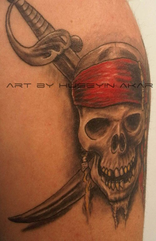 Original Pirate Skull And Sword Tattoos
