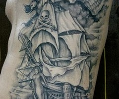 Original Pirate Tattoo On Full Ribs