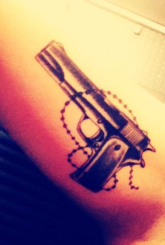Original Pistol And Rosary Tattoos On Arm