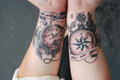 Original Pocket Watch And Nautical Compass Inner Wrist Tattoos