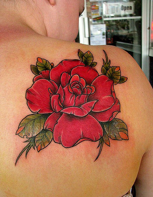 Original Red Rose Tattoo Behind Right Shoulder