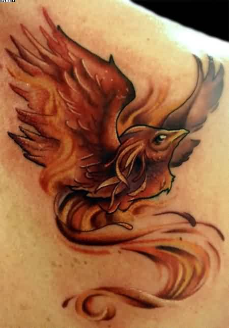 Original Rising Phoenix Tattoo Behind Shoulder