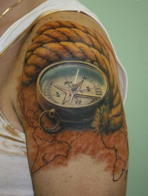 Original Rope Nautical Compass And Map Tattoos For Guys