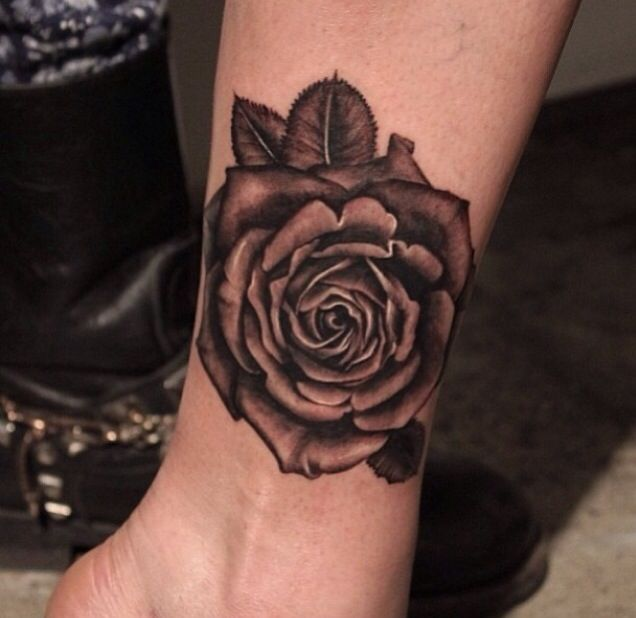 Original Rose Tattoo On Ankle