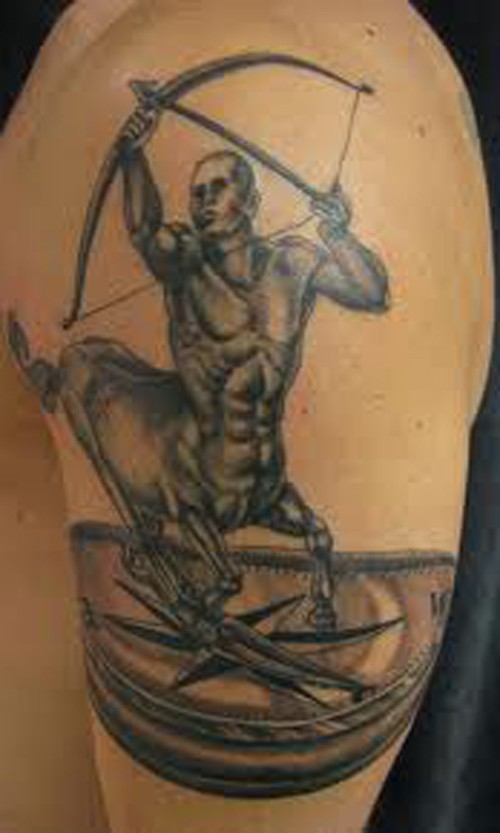 Original Sagittarius On Compass Tattoos On Arm