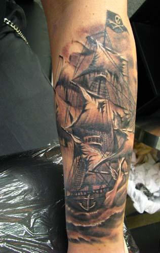 Original Sailing Pirate Ship Tattoo On Arm