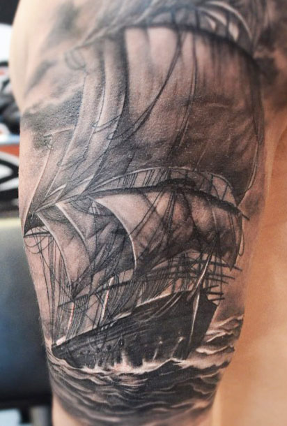 Original Sailing Ship Close Up Tattoo