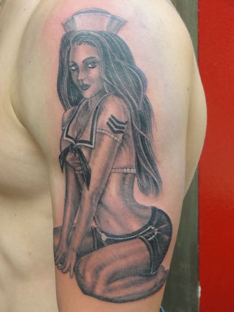 Original Sailor Girl Pinup Tattoo On Arm