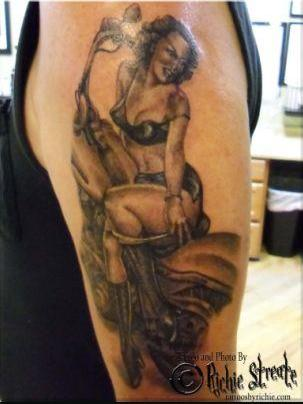 Original Sexy Pinup Girl On Bike Tattoo