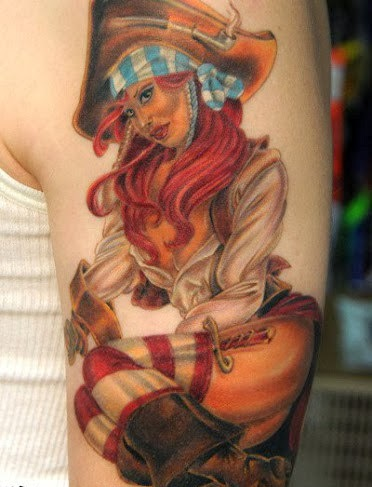 Original Sexy Pirate Girl Tattoo