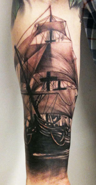 Original Ship Tattoo On Forearm