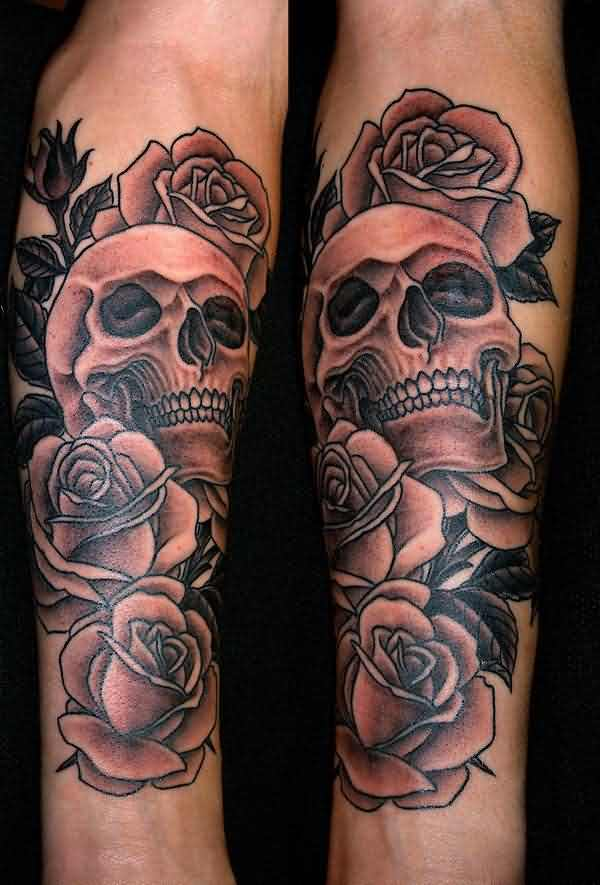Original Skull And Grey Roses Tattoos