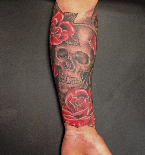 Original Skull And Red Rose Tattoos On Lower Arm