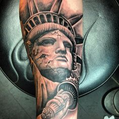 Original Statue Of Liberty Tattoo On Arm