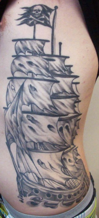 Original Tall Pirate Ship Tattoo On Ribs