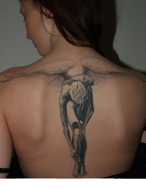 Original Thin Angel Tattoo On Back