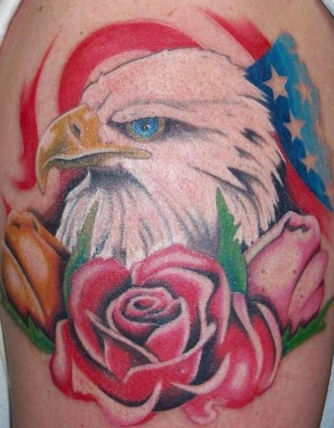 Original US Flag Eagle And Flower Tattoos