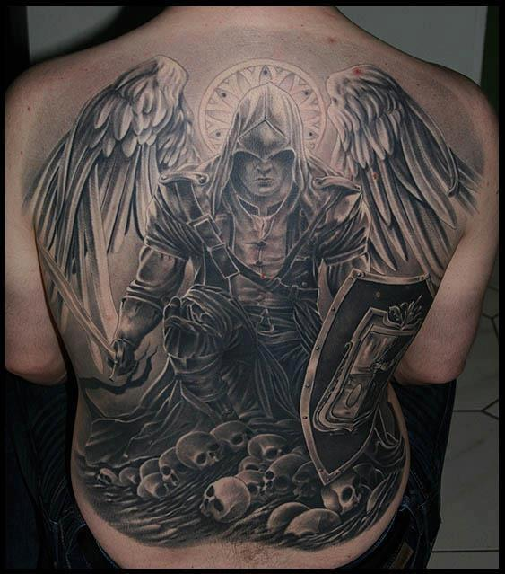 Original Warrior And Skull Tattoos On Entire Back