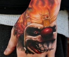 Original Wicked Clown Tattoo On hand