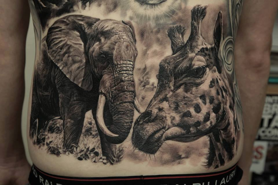 Original Wild Animal Tattoos On Full Stomach