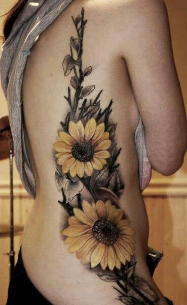 Original Yellow Sunflower Tattoos On Side
