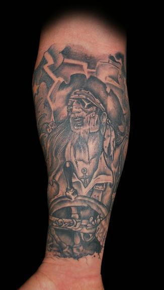 Original Zombie Pirate Tattoo On Lower Arm