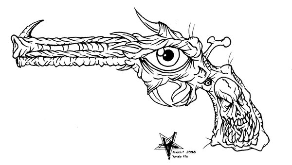 Outline Demon Pistol Tattoo Sample