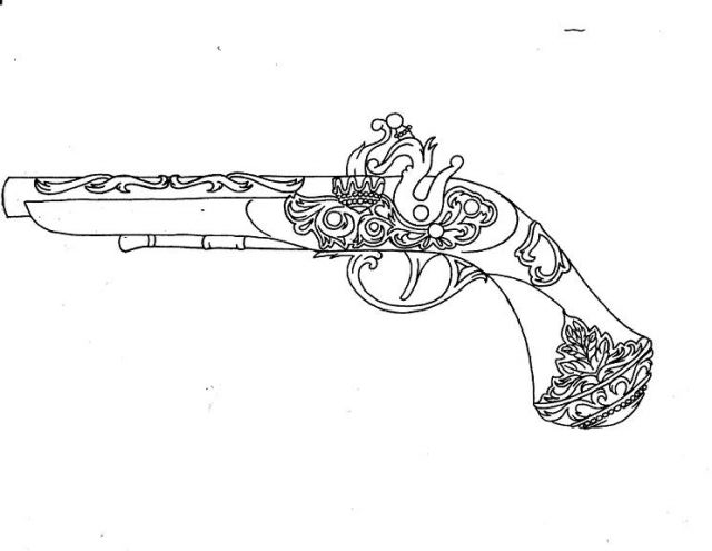 Outline Designer Pistol Tattoo Sample