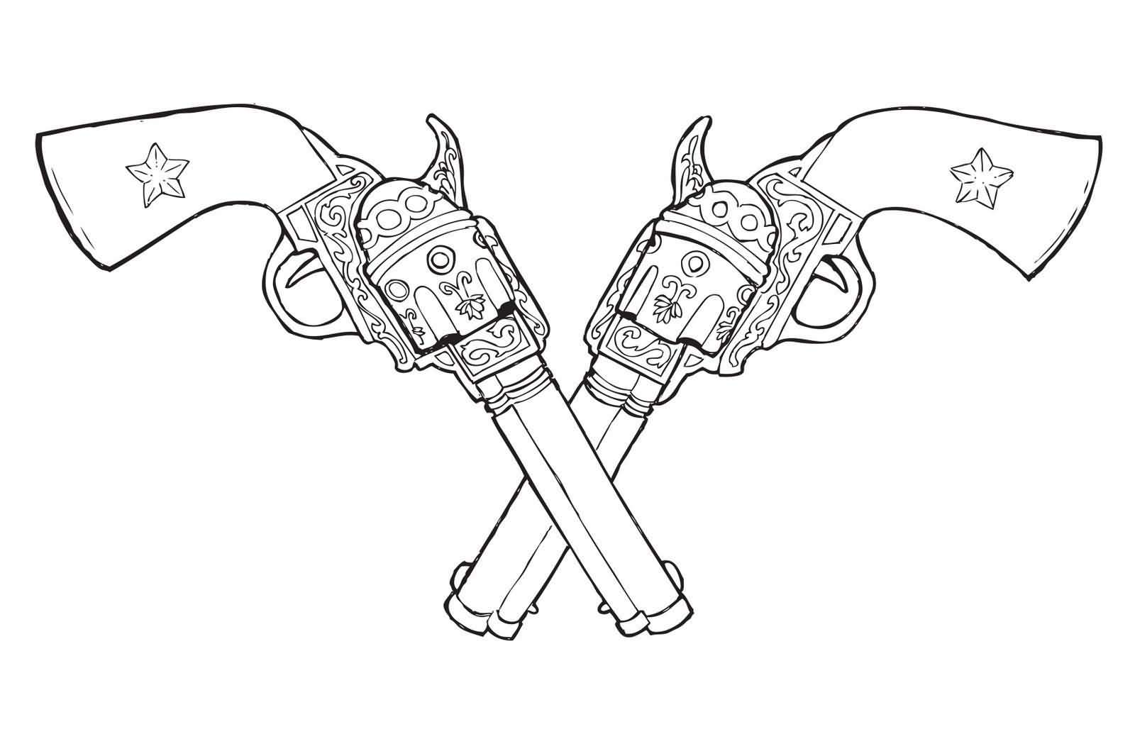 Outline Double Pistol Tattoos Sample
