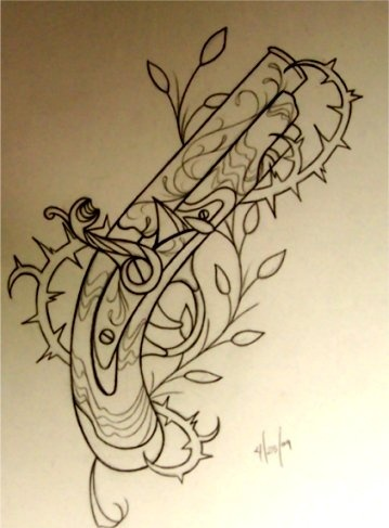 Outline Flintlock Pistol And Vine Tattoo Flash