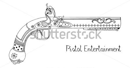Outline Flintlock Pistol Tattoo Design