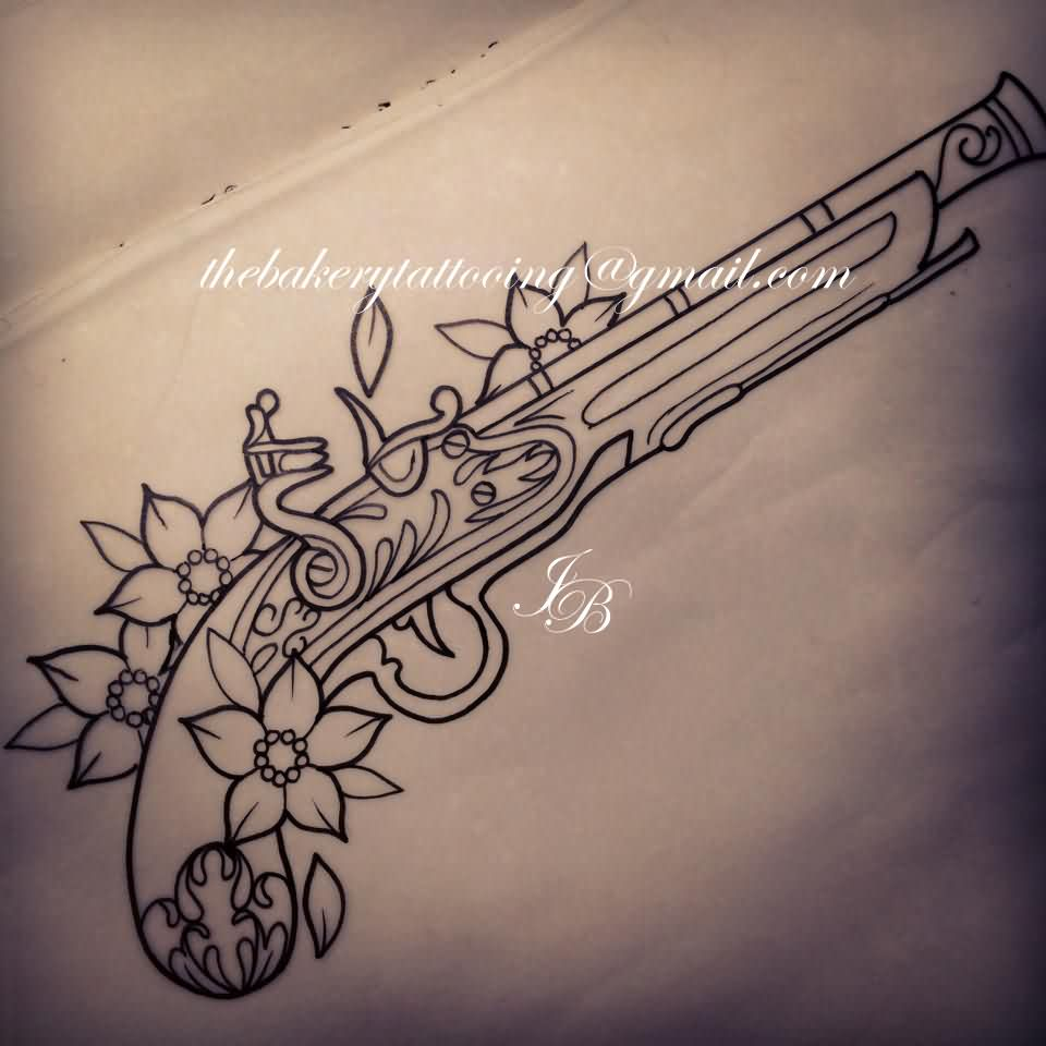 Outline Flowers And Flintlock Pistol Tattoo Pistol